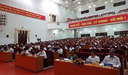 Các đại biểu học tập Nghị quyết Hội nghị Trung ương 6 khóa XII tại Trung tâm Hội nghị - Văn hóa tỉnh Lai Châu