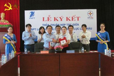Lãnh đạo VNPT Lai Châu, Công Ty Điện lực Lai Châu  ký kết thỏa thuận hợp tác