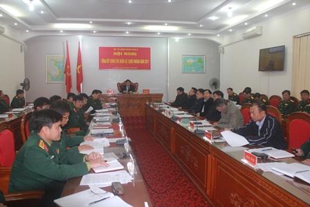 Quang cảnh hội nghị tại điểm cầu Bộ CHQS tỉnh