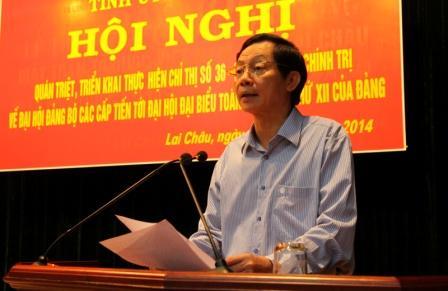 Đ/c Lò Văn Giàng - UVBCH TW Đảng, Bí thư Tỉnh ủy phát biểu chỉ đạo tại Hội nghị quán triệt Chỉ thị 36 của Bộ Chính trị do Tỉnh ủy tổ chức (ảnh: KK)