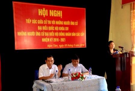 Quang cảnh tiếp xúc cử tri tại xã Nậm Tăm huyện Sìn Hồ