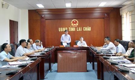 Đồng chí Đỗ Ngọc An - Phó Bí thư Tỉnh ủy, Chủ tịch UBND tỉnh phát biểu ý kiến tại Hội nghị ở điểm cầu tỉnh Lai Châu