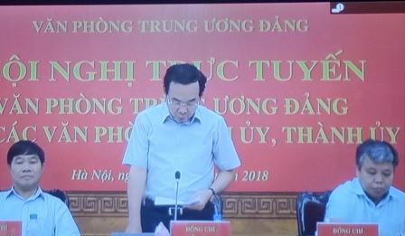 Đ/c Nguyễn Văn Nên - Bí thư Trung ương Đảng, Chánh Văn phòng Trung ương Đảng chủ trì Hội nghị tại điểm cầu Hà Nội