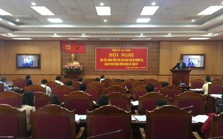 Quang cảnh Hội nghị tại điểm cầu Tỉnh ủy