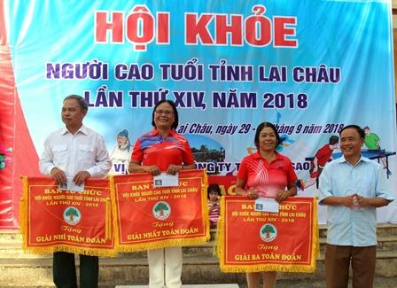 Hội NCT tỉnh trao giải nhất, nhì, ba toàn đoàn cho các đoàn đoạt giải