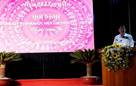 Đồng chí Vũ Văn Hoàn - Phó Bí thư Tỉnh ủy - CT HĐND tỉnh phát biểu kết luận Hội nghị tổng kết 10 năm thực hiện Chí thị số 21-CT/TW của Bộ Chính trị