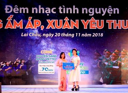 Đơn vị từ thiện trao tiền ủng hộ cho Hội LHTN Việt Nam thành phố Lai Châu