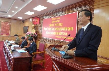 Đ/c Vũ Văn Hoàn - Phó Bí thư Thường trực Tỉnh uỷ, Chủ tịch HĐND phát biểu chỉ đạo tại Hội nghị Tổng kết công tác Tuyên giáo năm 2018