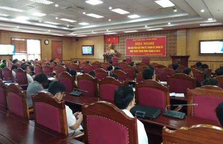 Đại biểu dự hội nghị tại điểm cầu Tỉnh ủy Lai Châu