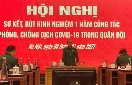 Đồng chí Thượng tướng Trần Đơn - Ủy viên Trung ương Đảng, Ủy viên Thường vụ Quân ủy Trung ương, Thứ trưởng Bộ Quốc phòng, Trưởng Ban chỉ đạo phòng, chống dịch Covid-19 Bộ Quốc phòng chủ trì hội nghị