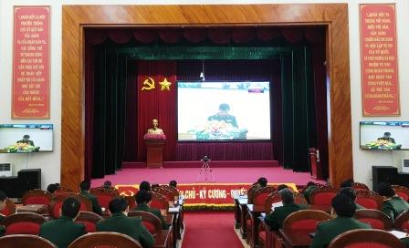 Quang cảnh hội nghị tại điểm cầu Bộ CHQS tỉnh.